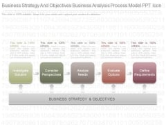 Business Strategy And Objectives Business Analysis Process Model Ppt Icon