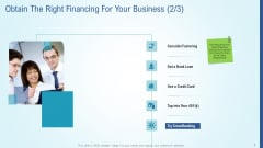Business Strategy Development Process Obtain The Right Financing For Your Business Icon Summary PDF