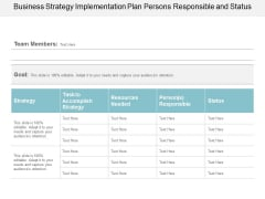 Business Strategy Implementation Plan Persons Responsible And Status Ppt Powerpoint Presentation Pictures Designs Download