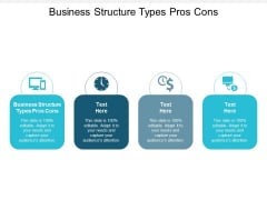 Business Structure Types Pros Cons Ppt PowerPoint Presentation Infographics Elements Cpb