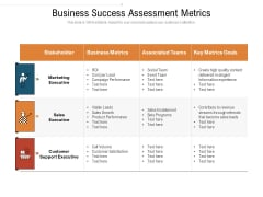 Business Success Assessment Metrics Ppt PowerPoint Presentation Gallery Graphics Pictures PDF
