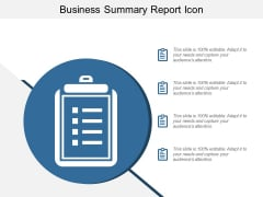 Business Summary Report Icon Ppt Powerpoint Presentation Styles Model