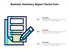 Business Summary Report Vector Icon Ppt PowerPoint Presentation Summary Templates PDF
