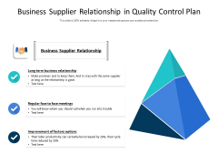Business Supplier Relationship In Quality Control Plan Ppt PowerPoint Presentation Icon Professional PDF