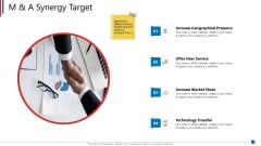 Business Synergies M And A Synergy Target Ppt Visual Aids Model PDF