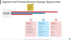 Business Synergies Segment And Prioritize Revenue Synergy Opportunities Ppt Icon Background Image PDF
