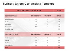 Business System Cost Analysis Template Ppt PowerPoint Presentation Professional Themes PDF