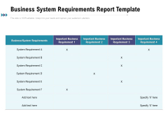 Business System Requirements Report Template Ppt PowerPoint Presentation Show Clipart PDF