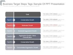 Business Target Steps Tags Sample Of Ppt Presentation