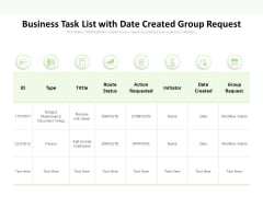Business Task List With Date Created Group Request Ppt PowerPoint Presentation Styles Example Introduction