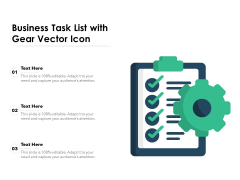 Business Task List With Gear Vector Icon Ppt PowerPoint Presentation Layouts Picture PDF