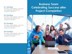 Business Team Celebrating Success After Project Completion Ppt PowerPoint Presentation Icon Pictures PDF