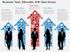 Business Team Silhouette With Gear Arrows Powerpoint Templates