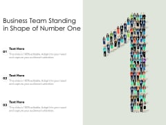 Business Team Standing In Shape Of Number One Ppt PowerPoint Presentation Infographic Template Styles PDF