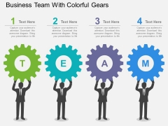 Business Team With Colorful Gears Powerpoint Template