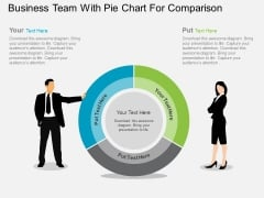Business Team With Pie Chart For Comparison Powerpoint Template
