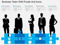 Business Team With Puzzle And Icons Powerpoint Template
