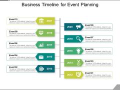 Business Timeline For Event Planning Ppt PowerPoint Presentation File Skills PDF