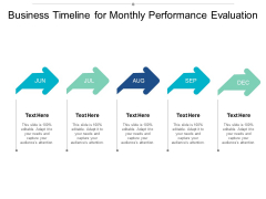 Business Timeline For Monthly Performance Evaluation Ppt Powerpoint Presentation Show Slide Download