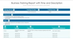 Business Training Report With Time And Description Ppt PowerPoint Presentation Model Introduction PDF
