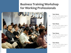 Business Training Workshop For Working Professionals Ppt PowerPoint Presentation Layouts Demonstration PDF