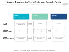 Business Transformation Decide Strategy And Capability Building Ppt PowerPoint Presentation Summary Visual Aids