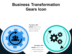 Business Transformation Gears Icon Ppt PowerPoint Presentation Pictures Good PDF