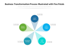 Business Transformation Process Illustrated With Five Petals Ppt PowerPoint Presentation Model Guidelines PDF