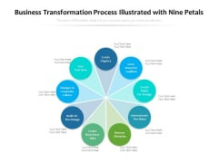 Business Transformation Process Illustrated With Nine Petals Ppt PowerPoint Presentation Ideas Grid PDF