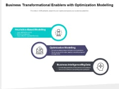Business Transformational Enablers With Optimization Modelling Ppt PowerPoint Presentation Model Visual Aids