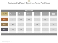 Business Unit Team Objectives Powerpoint Ideas