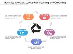 Business Workflow Layout With Modelling And Controlling Ppt PowerPoint Presentation File Diagrams PDF