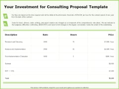 Business Your Investment For Consulting Proposal Template Ppt Outline Examples PDF
