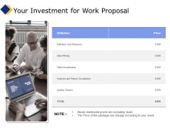 Business Your Investment For Work Proposal Ppt Summary Styles PDF