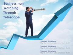 Businessman Watching Through Telescope Ppt PowerPoint Presentation Ideas Elements