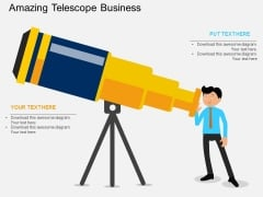 Businessman With Telescope For Future Vision Powerpoint Templates