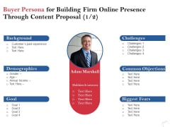 Buyer Persona For Building Firm Online Presence Through Content Proposal Demographics Ppt PowerPoint Presentation Show
