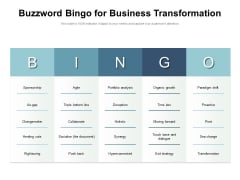 Buzzword Bingo For Business Transformation Ppt PowerPoint Presentation File Background PDF