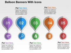 Balloon Banners With Icons PowerPoint Template
