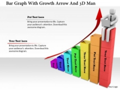 Bar Graph With Growth Arrow And 3d Man