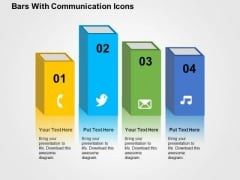 Bars With Communication Icons PowerPoint Template