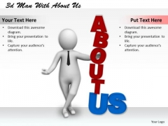 Basic Marketing Concepts 3d Man With About Us Character Modeling