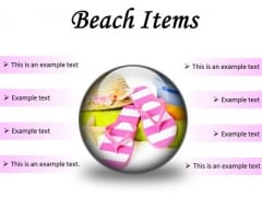 Beach Items Holidays PowerPoint Presentation Slides C