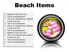 Beach Items Holidays PowerPoint Presentation Slides Cc