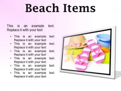 Beach Items Holidays PowerPoint Presentation Slides F