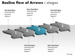 Beeline Flow Of Arrows 5 Stages Create Chart PowerPoint Slides