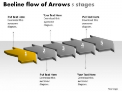 Beeline Flow Of Arrows 5 Stages Easy Charts PowerPoint Slides