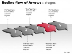 Beeline Flow Of Arrows 5 Stages Process Charts PowerPoint Slides