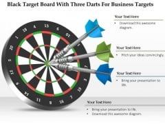 Black Target Board With Three Darts For Business Targets Presentation Template