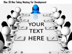 Blue 3d Man Taking Meeting For Development
